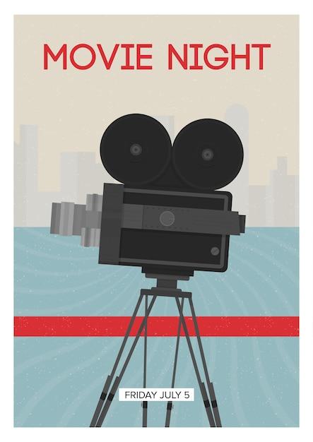 Modello di poster moderno per la serata del cinema, la prima o il festival del cinema con la fotocamera a pellicola retrò o il proiettore in piedi su treppiede. illustrazione vettoriale colorato per l'annuncio dell'evento. Vettore Premium