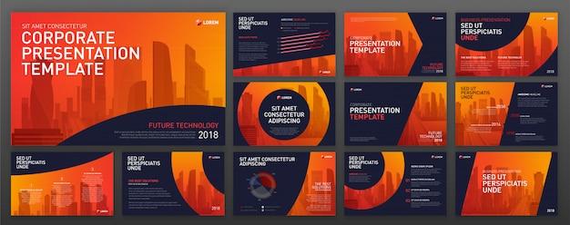 Set di modelli di progettazione moderna powerpoint. Vettore Premium