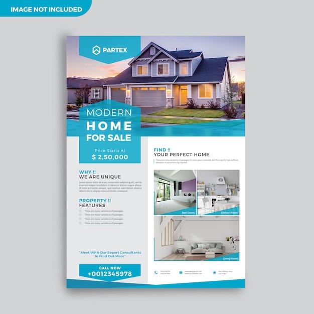 Modello moderno di progettazione di flyer di pubblicità dell'agente immobiliare Vettore Premium