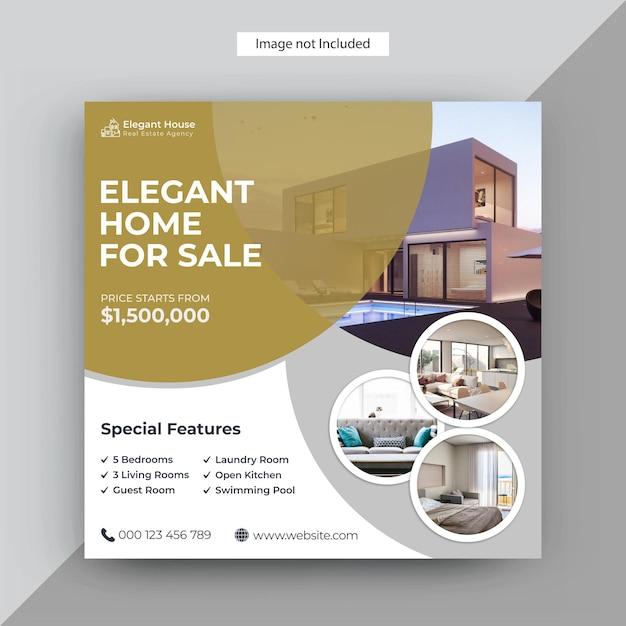 Modern real estate instagram post, modello di post sui social media Vettore Premium