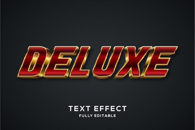 Effetto di stile di testo 3d rosso e oro moderno Vettore Premium