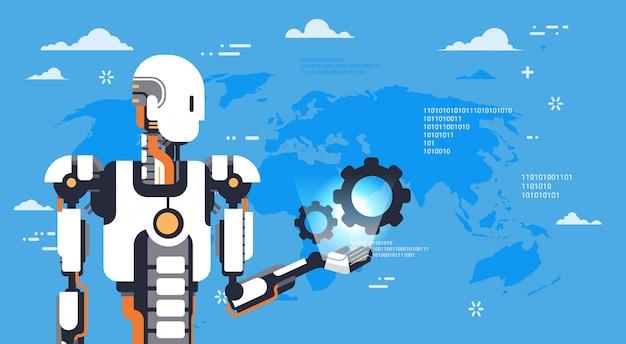 Modern robot hold cog wheel over world map tecnologia futuristica del meccanismo di intelligenza artificiale Vettore Premium