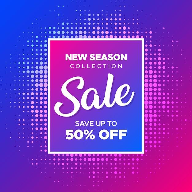 Banner di vendita moderna con sfumatura di colori al neon Vettore Premium