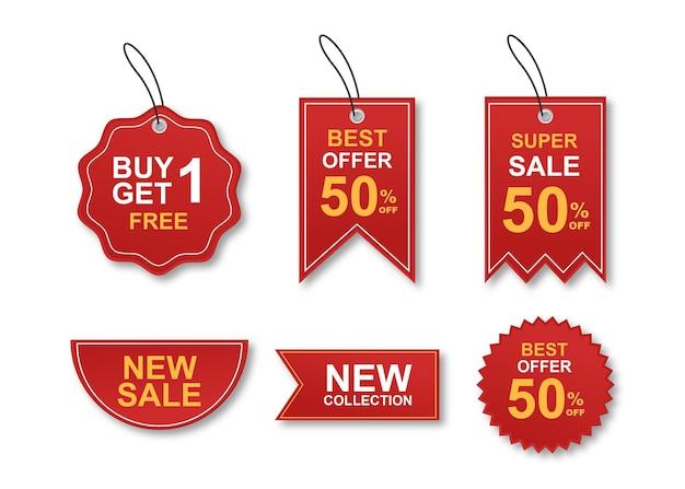 Collezione colorata di adesivi e tag di vendita moderna Vettore Premium