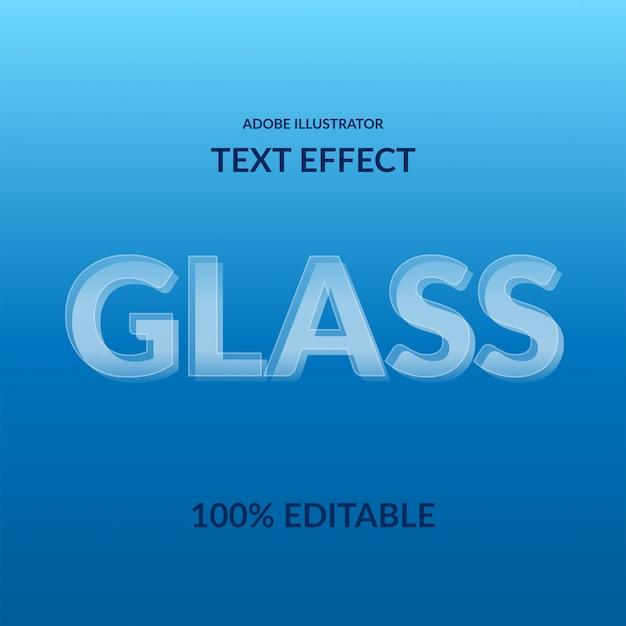 Carattere moderno san serif effetto di testo modificabile trasparente moderno bianco vetro 3d Vettore Premium