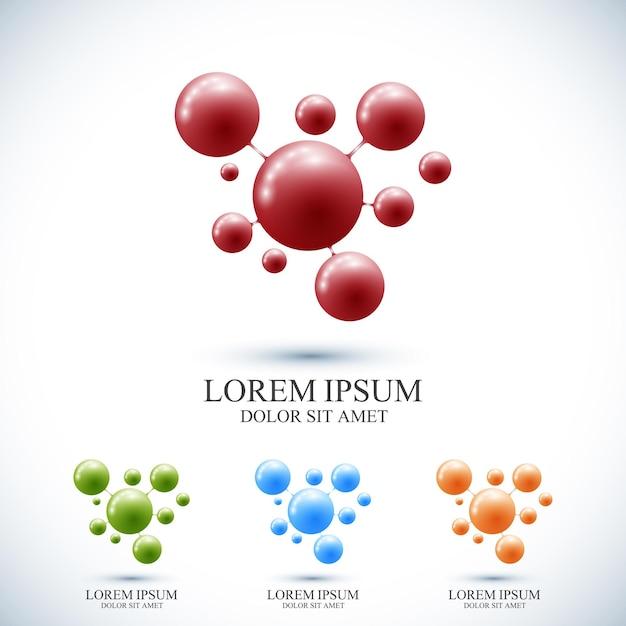Set moderno logotipo icona dna e molecola. modello di vettore per la chimica della tecnologia della scienza della medicina Vettore Premium