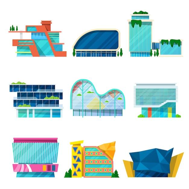 Insieme architettonico moderno degli edifici del centro commerciale. Vettore Premium