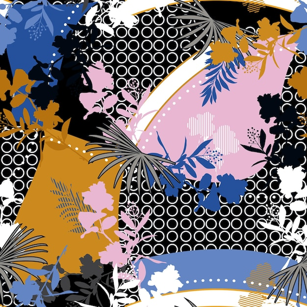 Motivo floreale moderno e botanico con motivo floreale misto a cerchio geometrico e motivo senza cuciture in stile orientale Vettore Premium