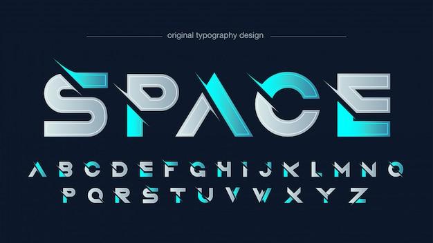 Tipografia futuristica moderna blu al neon affettata Vettore Premium