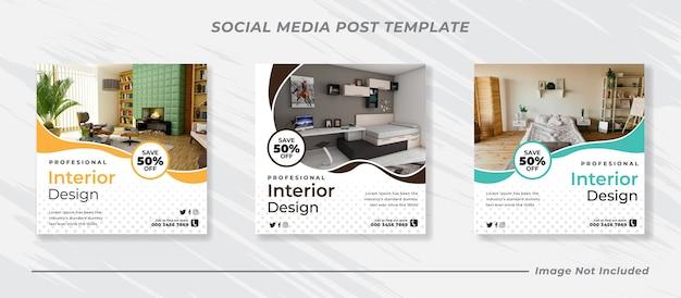 Bundle di banner post di feed di instagram di social media moderni Vettore Premium