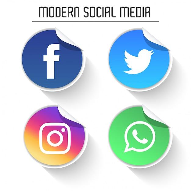 Loghi moderni social media pack Vettore Premium