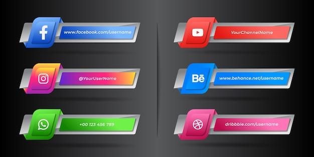 Moderna raccolta di icone terza inferiore dei social media Vettore Premium