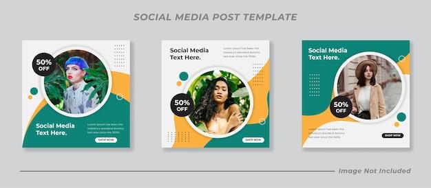 Insieme di raccolta di modelli di post sui social media moderni Vettore Premium