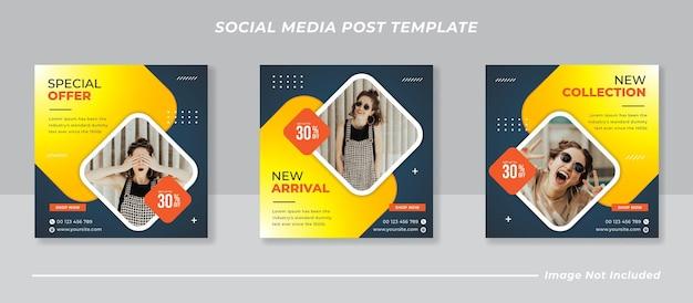 Moderna raccolta di modelli di post sui social media Vettore Premium