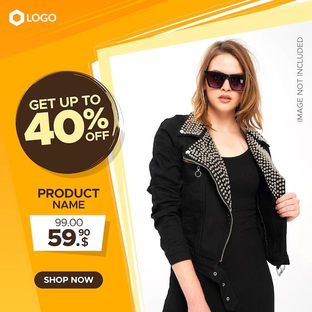 Banner quadrato moderno di vendita per posta web e instagram con sconto e prezzo Vettore Premium