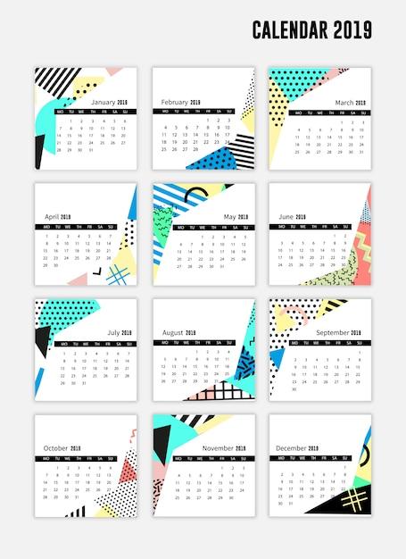 Foglio di calendario stile moderno 2019 Vettore Premium