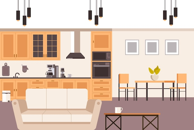 Interiore della cucina domestica in stile moderno. Vettore Premium