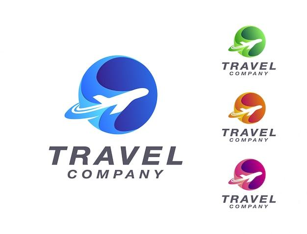 Viaggio moderno in aereo logo Vettore Premium