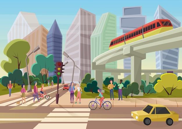 Via della città del fumetto urbano moderno con i giovani che camminano illustrazione Vettore Premium