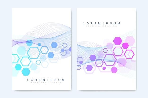 Modelli vettoriali moderni per brochure, copertina, flyer, relazione annuale, depliant. Vettore Premium