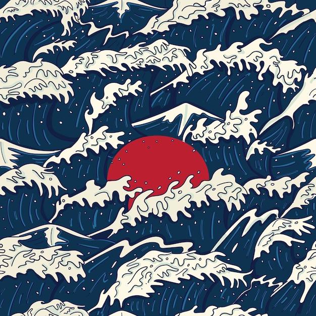 Moderno vintage giapponese stile ukiyo-e onda tempestosa, oceano furioso e illustrazione senza giunte del sole rosso Vettore Premium