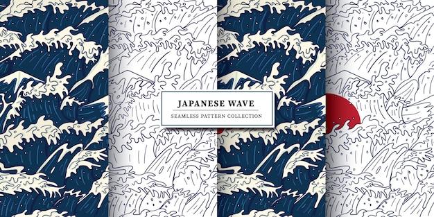 Moderno vintage giapponese stile ukiyo-e onda tempesta, oceano furioso e illustrazione senza giunte del sole rosso Vettore Premium