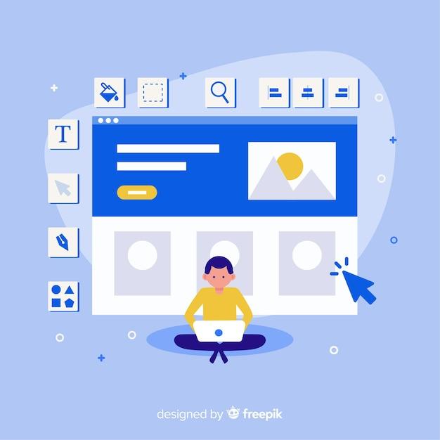 Concetto di web design moderno con stile piano Vettore Premium