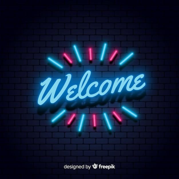 Cartello di benvenuto moderno con stile luce al neon Vettore Premium