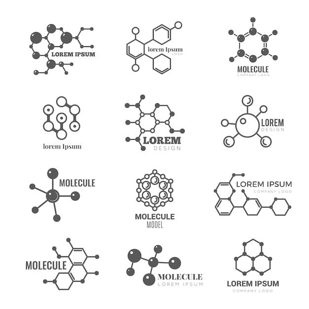 Logo molecolare. concetto scientifico di vettore di marca di affari dell'atomo della struttura della molecola del dna di chimica Vettore Premium