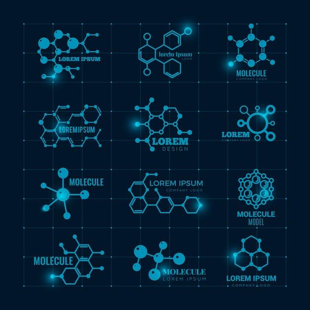 Logo molecolare con effetto brillante. icone dell'atomo della struttura scientifica della molecola del dna di chimica messe Vettore Premium