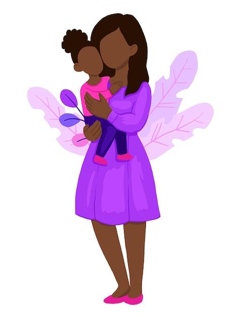Mamma che abbraccia la sua bambina. Vettore Premium