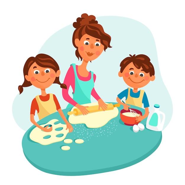 La mamma fa i biscotti con i bambini, un ragazzo e una ragazza. i bambini aiutano i genitori a cucinare. Vettore Premium