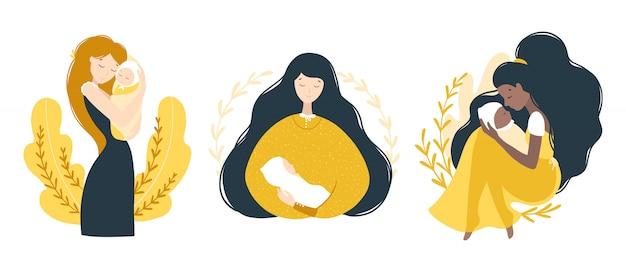 Mamma e neonato. insieme di varie donne con bambini. ritratti toccanti. moderna illustrazione carino in stile cartone animato piatto. caratteri isolati su uno sfondo bianco Vettore Premium