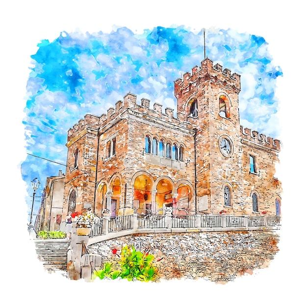 Illustrazione disegnata a mano di schizzo dell'acquerello di mondolfo italia Vettore Premium