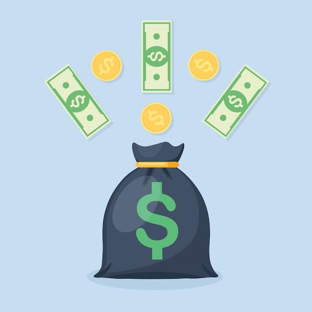 Borsa dei soldi con il simbolo del dollaro e valuta, monete Vettore Premium