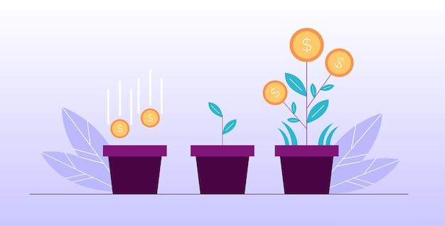 Crescita del mercato economico del deposito di investimento di fiori di denaro concetto di successo finanziario. affari redditizi. simbolo di ricchezza. moneta seme che cade nel terreno in vaso, crescente germoglio fioritura pianta del dollaro Vettore Premium