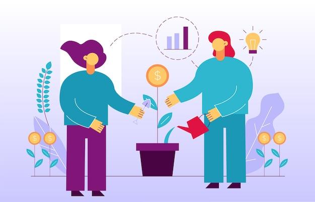 Crescita del denaro. ritorno all'investimento di profitto finanziario. strategia di marketing aziendale di successo, società di promozione pubblicitaria. persone di affari che piantano germoglio di fiore di moneta d'innaffiatura nella progettazione del vaso Vettore Premium