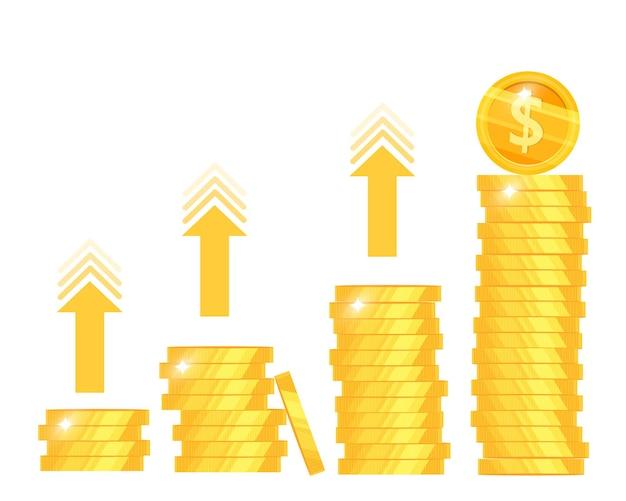 Crescita del reddito monetario, aumento delle entrate o ritorno sull'investimento Vettore Premium