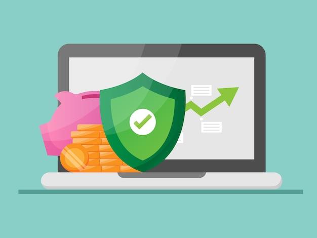 Risparmio di denaro e protezione con illustrazione del grafico di crescita piatta Vettore Premium