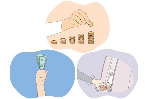 Risparmio di denaro, guadagnando il concetto di ricchezza finanziaria. Vettore Premium