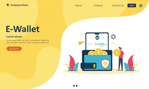 Trasferimento di denaro al concetto di portafoglio elettronico per la pagina di destinazione del web Vettore Premium