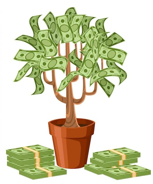Albero di soldi. banconote in contanti verdi. albero in vaso di ceramica. illustrazione su sfondo bianco. pagina del sito web e app per dispositivi mobili Vettore Premium