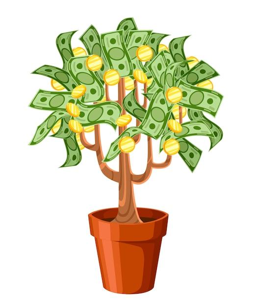 Albero di soldi. banconote in contanti verdi con monete d'oro. albero in vaso di ceramica. illustrazione su sfondo bianco. pagina del sito web e app per dispositivi mobili. Vettore Premium