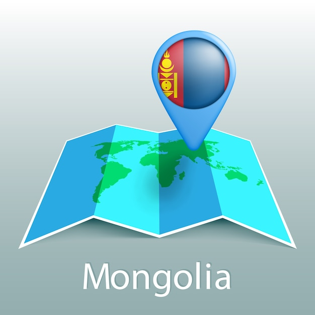 Mappa del mondo di bandiera della mongolia nel pin con il nome del paese su sfondo grigio Vettore Premium
