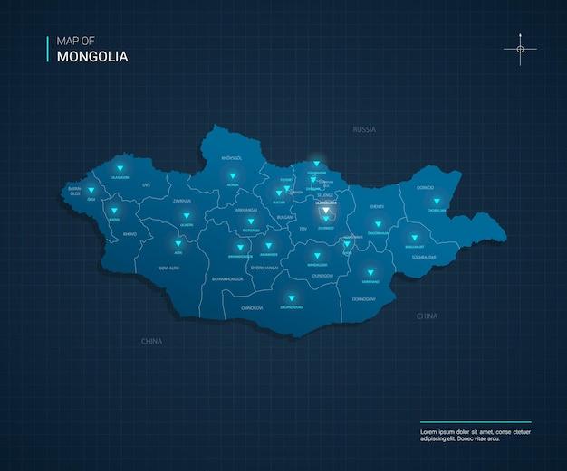 Mappa della mongolia con punti luce al neon blu Vettore Premium