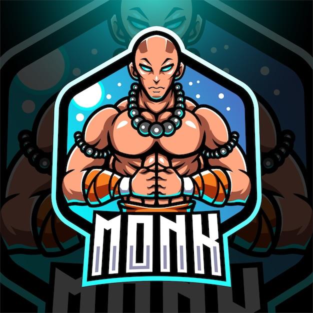 Monk esport mascotte logo design Vettore Premium