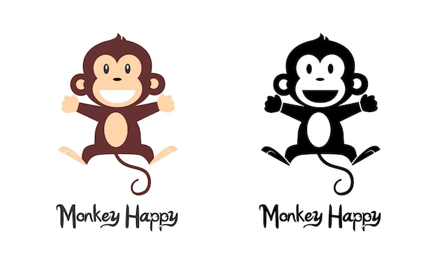Scimmia felice Vettore Premium