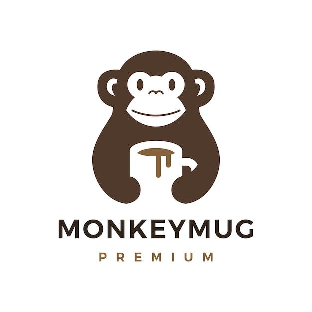 Monkey hold mug coffee drink logo icon illustration Vettore Premium