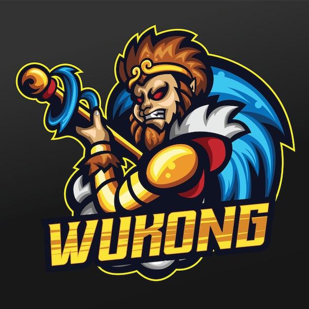 Monkey king mascot sport illustration design Vettore Premium