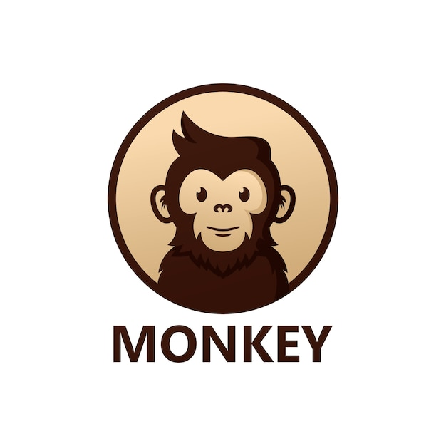 Monkey logo template design Vettore Premium
